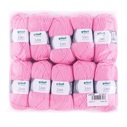 Gründl Lisa Premium Wolle, Polyacryl, rosa 31, 133 m, Nadelstärke 3,5- 4,5, 10er Pack