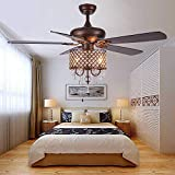 Andersonlight Rustic Ceiling Fan with Crystal Light Home Indoor Quiet Reversible Blade Ceiling Fan Chandelier Bedroom Living Room Family Ideal Fan Light, New Bronze, 52-Inch (Crystal)