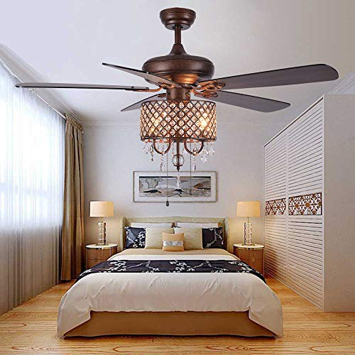 Andersonlight Rustic Ceiling Fan with Crystal Light Home...