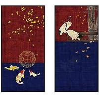 YQQICC 現代中国風絵画キャンバス鯉タンチョウヴィンテージ壁アート写真背景家の装飾-40x80cmx2フレームなし