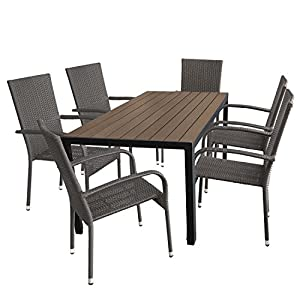 Multistore 2002 7tlg. Gartengarnitur Aluminium Gartentisch mit Polywood Tischplatte 150x90cm + 6 stapelbare Polyrattan…