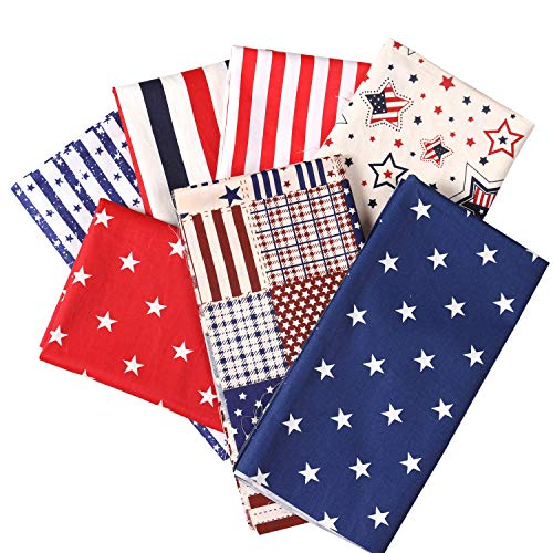 Picheng 100% Cotton Fabric Patriotic Star of The American Flag Independence Themeds of Freedom, Print Quilting Fabric Bundles for DIY Fabric Jeans Sewing Patchwork Material19.6