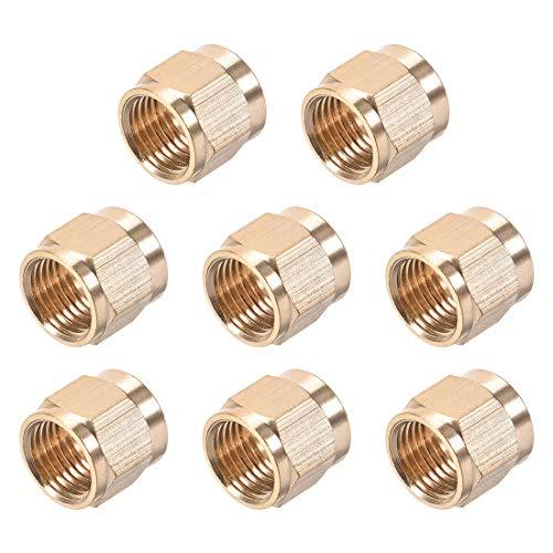 uxcell Brass Tubing Nut Tube Fitting Compression Insert Hydraulic Nuts M10x6mm 8pcs