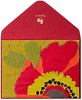 PAPYRUS BY NIQUEA.D Stitched Linen Red Flower Thank Card