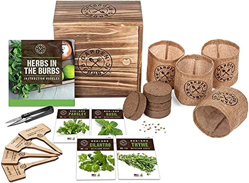 Indoor Herb Garden Starter Kit - Heirloom, Non-GMO Herb Seeds - Basil Thyme Parsley Cilantro Seed,...