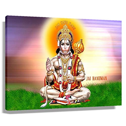 Hanuman Hindu Mythology Poster Pictures for Living Room Art for Women Canvas for Wall Decorative Paintings Kitchen Decorations Painting Prints Modern Artwork for Office Horizontal Posters (45x30cm(18x12inch),Framed)