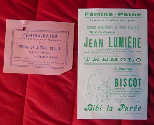 Affichette du Fémina-Pathé 1935 avec Jean Lumière et Biscot dans Bibi la Purée