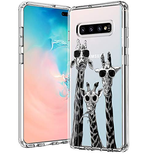 BICOL Galaxy S10 Plus Case Clear with Design for Girls Women,12ft Drop Tested,Military Grade Shockproof,Slim Fit Protective Phone Case for Samsung Galaxy S10 Plus Cool Giraffe