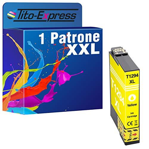 1x platinumserie Impresora tinta XL te1294Yellow con chip e indicador de nivel para Epson Stylus Office BX 305FW Plus, SX 445W, SX 425W, BX 305FW, BX 305F, SX 230, SX 535WD, SX 525WD, SX 620FW, BX 525WD, BX 625FWD, Epson WorkForce WF 7515, WF 7015, WF 7525,525,630, Epson Stylus Office BX 535WD, BX 635FWD, B 42WD, BX 925FWD, BX 630FW, BX 935FWD, BX 320FW, SX 235, SX 235W, SX 430W, SX 435W, SX 440W, SX 420W y todas las impresoras, según las instrucciones utilizan Epson T1294.