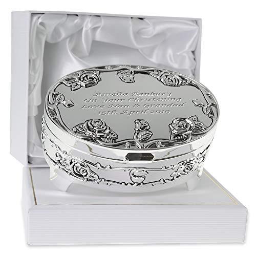 De Walden Girl's Christening Gift Personalised Silver Plated Rose Trinket...