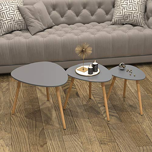 Charles Jacobs Set of 3 Scandinavian Style Tables - Grey