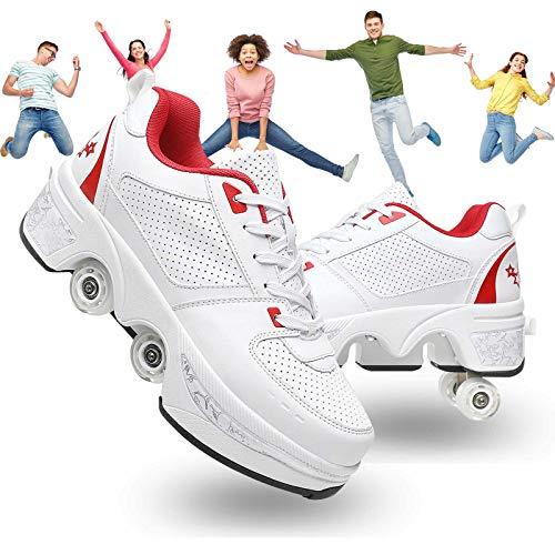 Pinkskattings@ Unisex Automática De Skate Zapatillas Con Ruedas Doble Rodillo Zapatos De Skate...