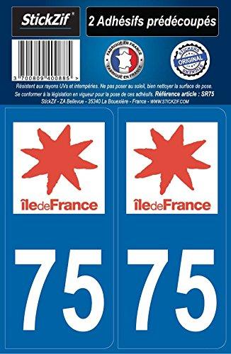 STICKZIF SR75 2 Adhésif Autocollants Région Département 75 Île-de-France, Set de 2