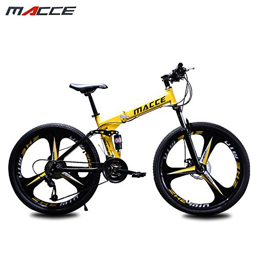 Mountain Bike 24/26 inch, Off-Road Mountain Bike, 21/24/27 Speed Folding Bike Double disc Brake Front Fork Rear Fork Anti-Skid Male and Female Bicycles,Yellow,26in/21speed