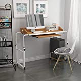 QIHANG-US Overbed Table with Wheels Adjustable Overbed Writing Desk with...