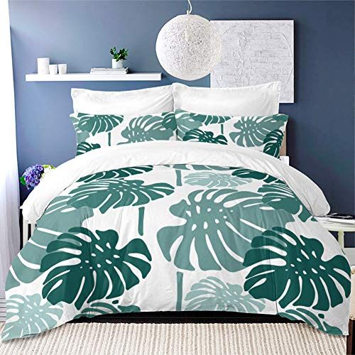 Yc 100% Polyester Plenty Green Leaves Bedding Sets, Jungle Plant Duvet Cover Sets, 3 Pcs King Size with Two Pillowcases