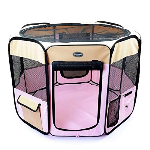 Xiaokeai Dog Crate Pink Pet Portable Foldable Playpen Exercise Kennel Dogs Cats Indoor/Outdoor Removable Mesh Shade Cover Pets Dog Crate (Size : L)