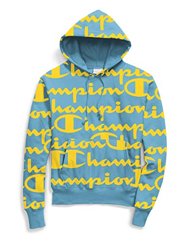 Champion Life Mens Reverse Weave Pullover Hoodie, XS, Giant Script Active Blue