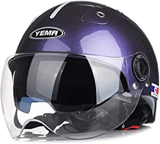 LALEO Universal Size Adjustable Open Face Half Helmet Motorcycle Helmet, Detachable Breathable with Double Goggles for Adults Men & Women DOT Approved Red, White, Orange, Purple (58-60cm)