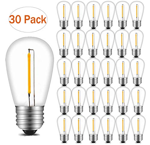INNOCCY Edison LED S14 Light Bulbs 1W 140 Lumen 2700K Soft-warm Vintage Style Waterproof Bulb Perfect for Outdoor String Lights 30 Pack