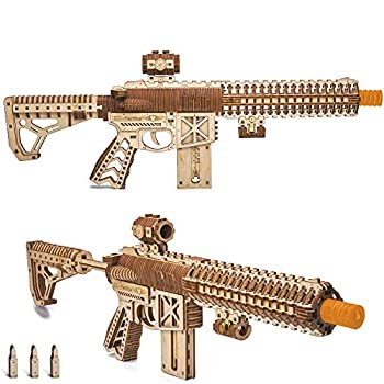 Wood Trick Assault Gun AR-T Model Kit for Adults and Teens to Build - with Telescoping Butt Fuse Sight and Clip for 12 Rounds - Detailed Construction - 23x8″ - 3D Wooden Puzzle - 14+