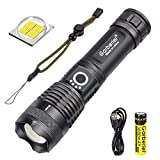 WholeFire LED Torch Super Bright XHP70 6000 Lumens, USB Rechargeable Powerful Flashlight Zoomable Power Display Torch Light for Camping Outdoor Sport (Battery Include)