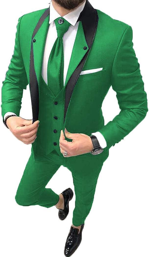 ToonySume Fashion Men's Business Suits Slim Fit 3 Pieces Prom Tuxedos Notch Lapel Groomsmen Wedding(48,Green)