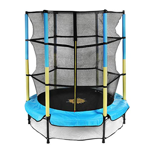 Trampoline for Kids with Enclosure Net, Doufit TR-05 55'' Mini Children Jumping Trampoline for Indoor and Outdoor Exercise, Recreational for Toddlers with Elastic Ropes