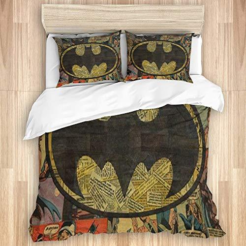 YZBEDSET Bedding Juego de Funda de Edredón,Logotipo de Batman,Microfibra Funda de Nórdico y Fundas de Almohada-(Cama 220 x 240cm)