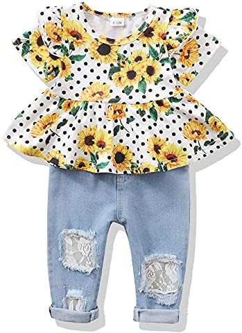 Infant Toddler Baby Girl Clothes Denim Jeans Outfits 2PCS Ruffle Floral Top + Ripped Denim Girls Pants Set 6M-4T