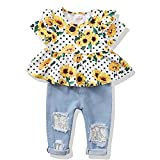 XUANHAO 12-18 Month Girl Clothes 2PCS Sunflower Short Sleeve Shirt Denim Ripped Jeans Cute Summer Clothes Outfits for Girls 12-18 Months