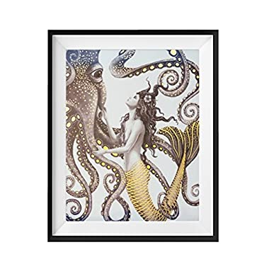 Mermaid and Octopus - Gold Foil Wall Art Decor Posters Prints - 8x10 by FOLE