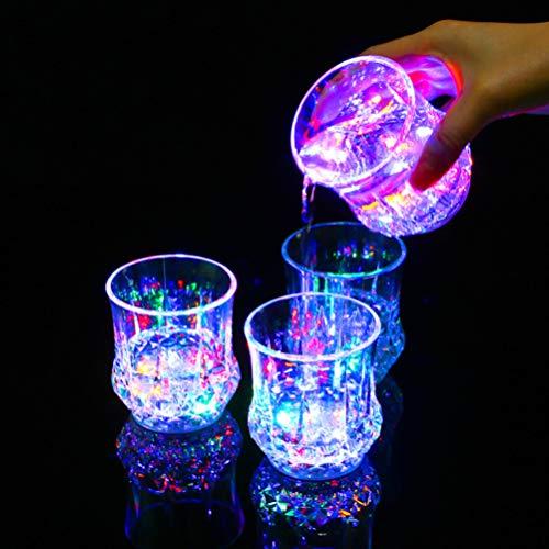 Uonlytech LED-Trinkbecher ananasförmige Blitzlicht LED leuchten Tassen für Club-Party (4 Stück)