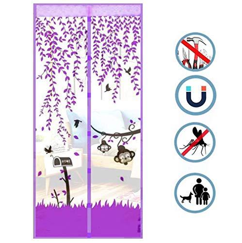 Encryptie Mesh Mute Anti-Muggen Gordijn, Afdrukken Magnetische Soft Screen Door, Home Slaapkamer Balkon Patio Beschermende Schermen 100 * 210Cm,Purple