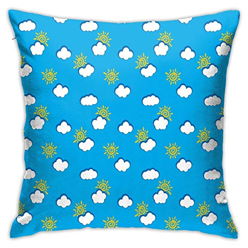 DHNKW Throw Pillow Case Cushion Cover,Abstract Sky Drawing with Cartoon Style Multiple Suns and Clouds Vivid Color ,18x18 Inches
