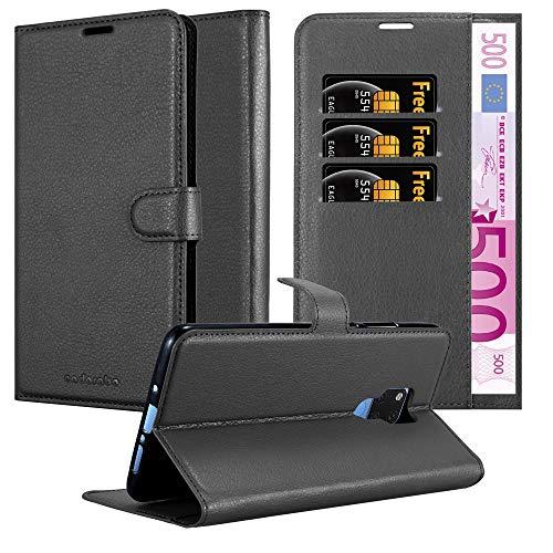 Cadorabo Hülle für Huawei Mate 20 X in Phantom SCHWARZ - Handyhülle mit Magnetverschluss, Standfunktion & Kartenfach - Hülle Cover Schutzhülle Etui Tasche Book Klapp Style