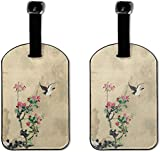 Ink Ppaint Peach Swallow Lage - Bolsa de etiquetas de piel sintética para maletas, diseño de viaje con cubierta de privacidad trasera, juego de 2 unidades