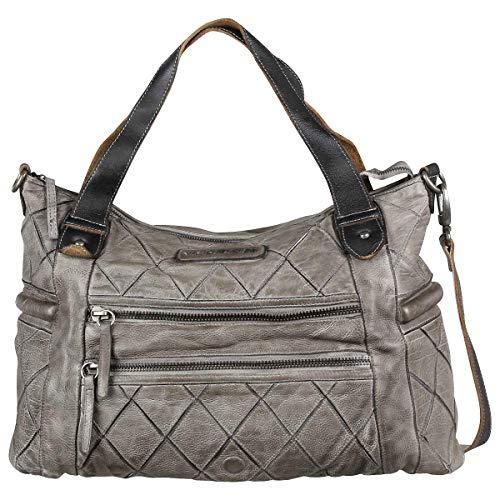Taschendieb Wien Leder Handtasche Schultertasche Handbag Tasche TD0648, Farbe:Grau