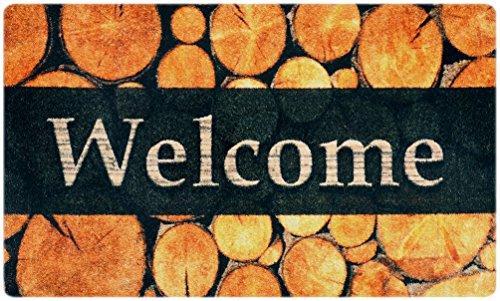 Paillasson Motif Bois Design Porte d'entrée, Couloir, intérieur et extérieur - Paillassons antidérapants et lavables | Pratique Tapis Anti-salissures – Paillasson | Essuie-Pieds – Brun 75 x 120 cm