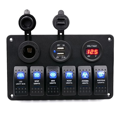 BlueFire Digital Voltmeter 12V Cigarette Socket Double USB Power Charger Adapter Flush Mount Waterproof 6 Gang Rocker Switch Panel Black for RV Car Boat