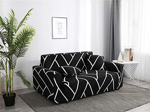 Funda de sofá Antideslizante de Poliéster Spandex Líneas Negras Estampado,Funda elástica Antideslizante Protector Cubierta de Muebles para sofá de 4 plazas(1 Funda de Cojines)