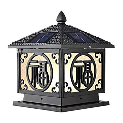 Outdoor Solar Post Light Waterproof Column Headlights Adjustable Led Villa Door Pillar Lamp Outdoor European Retro Wall Garden Post Light (Color : Black)