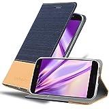 Cadorabo Hülle für HTC 10 (One M10) - Hülle in DUNKEL BLAU BRAUN – Handyhülle mit Standfunktion & Kartenfach im Stoff Design - Hülle Cover Schutzhülle Etui Tasche Book