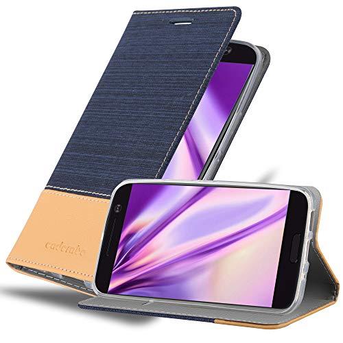 Cadorabo Hülle für HTC 10 (One M10) in DUNKEL BLAU BRAUN - Handyhülle mit Magnetverschluss, Standfunktion & Kartenfach - Hülle Cover Schutzhülle Etui Tasche Book Klapp Style