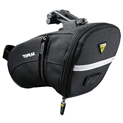 Topeak Satteltasche Aero Wedge Pack Large mit Quick Click und Riemen, schwarz, 21 x 12.5 x 14 cm, 1.9 Liter, TC2253B