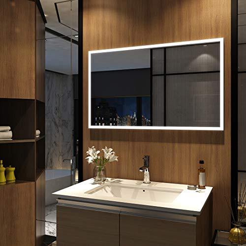 Meykoers Wandspiegel Badezimmerspiegel LED Badspiegel mit Beleuchtung 100x60cm, Lichtspiegel Kaltweiß 6400K Lichtspiegel durch Wand-Schalter Energieklasse A++