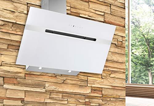 Dunstabzugshaube Wandhaube Kopffreihaube 5 J. Garantie 850m³/h 60 cm Abzugshaube 48 Edelstahl Wandhaube Kaminhaube Glas 2 X 3 W handelsübliche LED separat zuschaltbar 3 Leistungsstufen Umluft Abluft