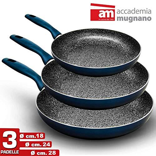 Bakaji Set 3 padelle cm 18-24-28 Rivestimento in Alluminio Marmorizzato ANTI-ADERENTE, Effetto Pietra, ideale anche per piano a Induzione Made in Italy CONCEPT E DESIGN