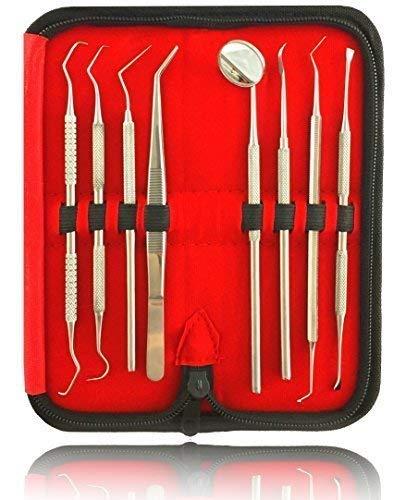 8er Dental Zahnpflege Set | Zahnreinigung Zahnsteinentferner | Zahninstrumente aus Edelstahl | Mit Zahnsonde Pinzette Mundspiegel und Scaler