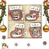 QIMMU 12 Pezzi Addobbi per Albero di Natale Legno Albero di Natale in Legno Pendenti Natalizie in Legno per Casa Regalo Forma Stella Renna Angelo Albero di Natale in Legno (C)
